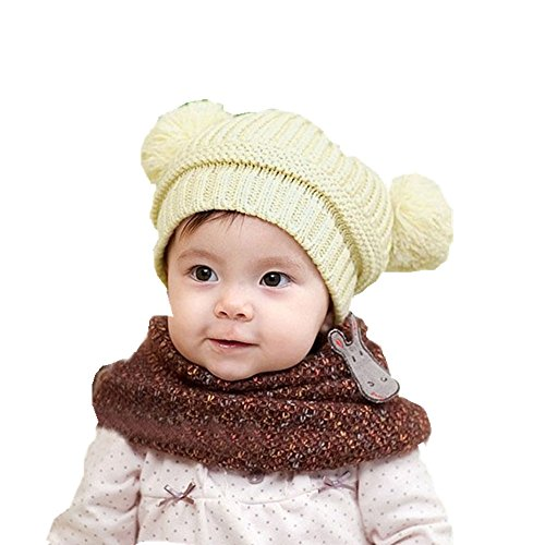 Start Baby Beanie Unisex Toddler Cute Dual Balls Warm Winter Knitted Cap Girl Boy Hats (Beige) (40 Lb Kettle Ball compare prices)