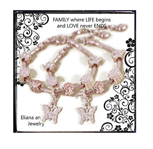 Eliana and Eli 2 pcs Pandora Style Charm Bracelet for Girls Women Love, Flowers, Butterfly Charms For Women for Valentines Birthday by Eliana and Eli
