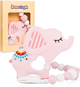 Baby Teething Toys,Food Grade Silicone Elephant Teether Toy with Pacifier Clip Holder Set for Newborn Babies,BPA Free,Freezer Safe (Pink)
