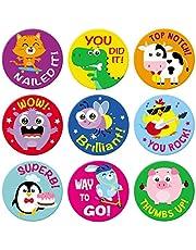 Sweetzer & Orange Reward-klistermärken för lärare. 1008 klistermärken för barn i 9 mönster. 2,5 cm skolklistermärken på ark. Lärarmaterial för klassrum, potträning klistermärken, motiverande klistermärken