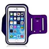 iPhone 6s Plus iPhone 6 Plus Armband - KAMII Sports Pouch Running Pack Armband Gym Wrist Bag Touchscreen Sleeve Key Holder & Card Slot for Apple iPhone 5S 6 6S Plus Samsung Smartphone (Purple)