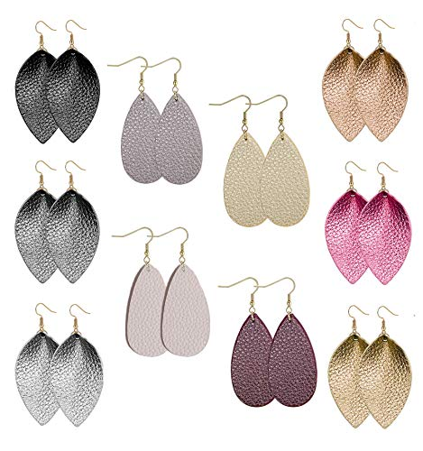 Besteel 10 Pairs Women Teardrop Leather Earrings for Girls Drop Dangle Leaf Earrings statement jewelry C ()
