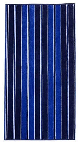 Superior Luxurious 100% Cotton Beach Towels, Oversized 34 x 64, Soft Velour Cotton and Absorbent Cotton Terry, Thick and Plush Striped Beach Towels - Aqua Stripes