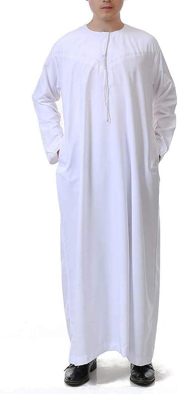 BooW Muslim Men Long Sleeve Thobe Middle East Saudi Arab Kaftan Islamic  Abaya Dress Dubai Robes