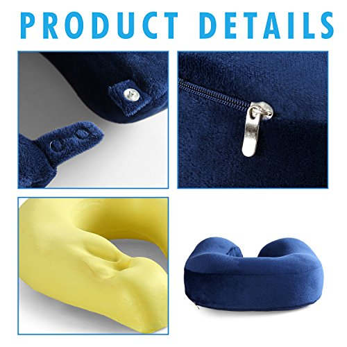 Cozy Hut Easy to Carry Memory Foam Travel Neck & Cervical Pillow, Head Chin and Neck Support Washable Micro-Fiber Cover with Storage Bag, Navy Blue by Cozy Hut (Image #5)