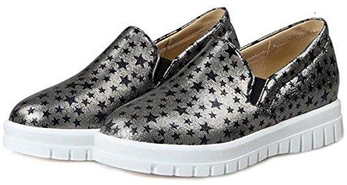 Zomerwhisper Dames Trendy Sterren Print Elastisch Lage Top Instappers Schoenen Instapper Platform Sneakers Goud