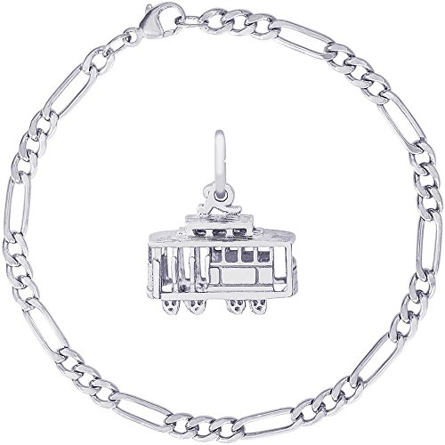 Rembrandt Charms Sterling Silver Bay Area Cable Car Charm on a Classic Figaro Bracelet, 8
