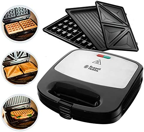 Russell Hobbs 2454056/RH–3in 1Sandwich Maker, 760W, Removable Plates