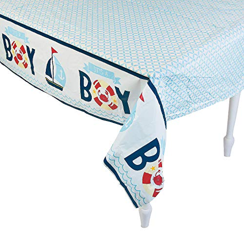 (Fun Express Nautical Baby Shower Tablecloth | 1 Count | Great for Great for Themed Baby Boy Birthdays, Maritime/Seafaring Party Decor )