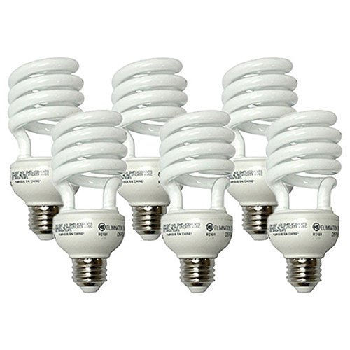 8000 Compact Hour 2700k - GE 26 Watt T3 Spiral Energy Smart CFL, Medium (E26) Base, 2700K, 100 Watt Replacement, 6 Pack