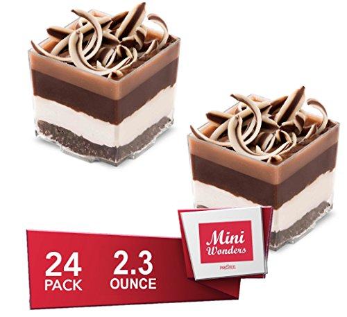 MINI WONDERS Appetizer Cups | 24 Pack | 2 oz | Square | Clear Plastic | Disposable | Bowl | Dish | For Dessert, Trifle, Parfait, Tiramisu, Mousse & More! (Cup Tiramisu)