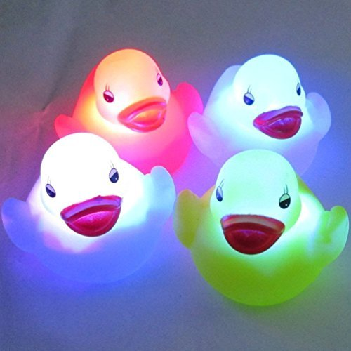 Waterproof Color Change LED Duck Night Lights Children Bath Toys Mood Lights (4pcs) A-goo