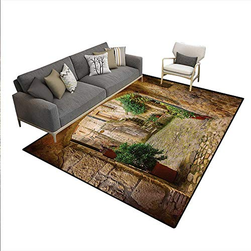 (Carpet,Landscape from Another Door Antique Style Stone Village Tuscany Italian Valley,Outdoor Rug,Multicolor,5'x8')