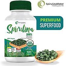 Spirulina Tablets 500 mg 180 Ct by SPIRULINA MATER- Blue Green Algae Superfood - High Protein Supplement - Organic, Vegan, Gluten Free & Non GMO - Not Chlorella