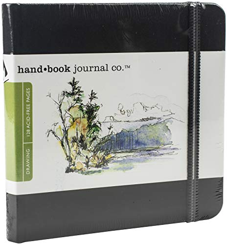 Travelogue Drawing Book, Square 5-1/2 x 5-1/2, Ivory Black Artist Journal