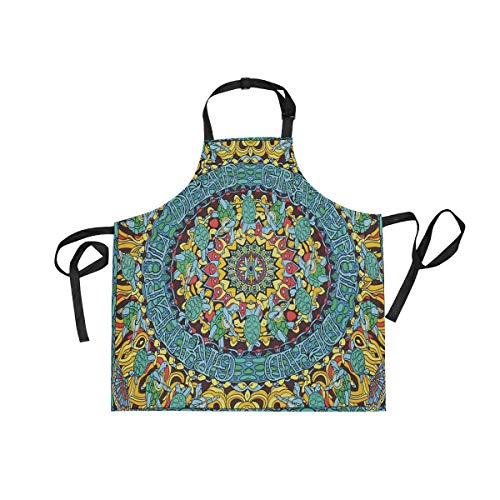 Grateful Dead Terrapin Dance Tapestry Adjustable Apron with Pockets Kitchen Cooking Baking Gardening Waist Apron