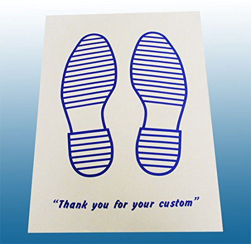 Disposable White Paper Car Floor Mats with Printed Blue Feet 250 pck Alpha Packaging