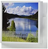 3dRose Mountain Lake Landscape with Eagle Flying in The Clouds, Thank You, Greeting Cards, Set of 6 (gc_174060_1)