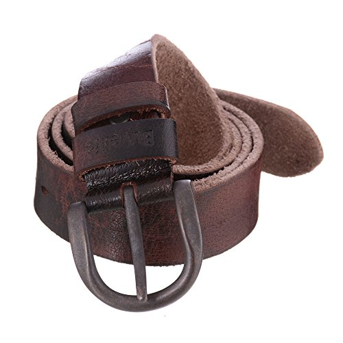 Buvelife Men's Leather Belt Vintage with Pin Buckle Casual (Soft Leather Buckle Belt)