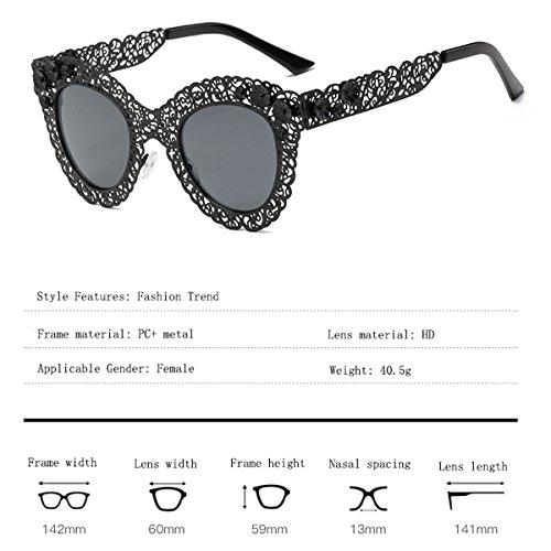 de Estilo Sol C Encaje Color Gato de Retro Ojo de Encaje de C Sol Mujer Gafas de Sol Gafas Gafas Gafas SYAODU para wa7vqSx