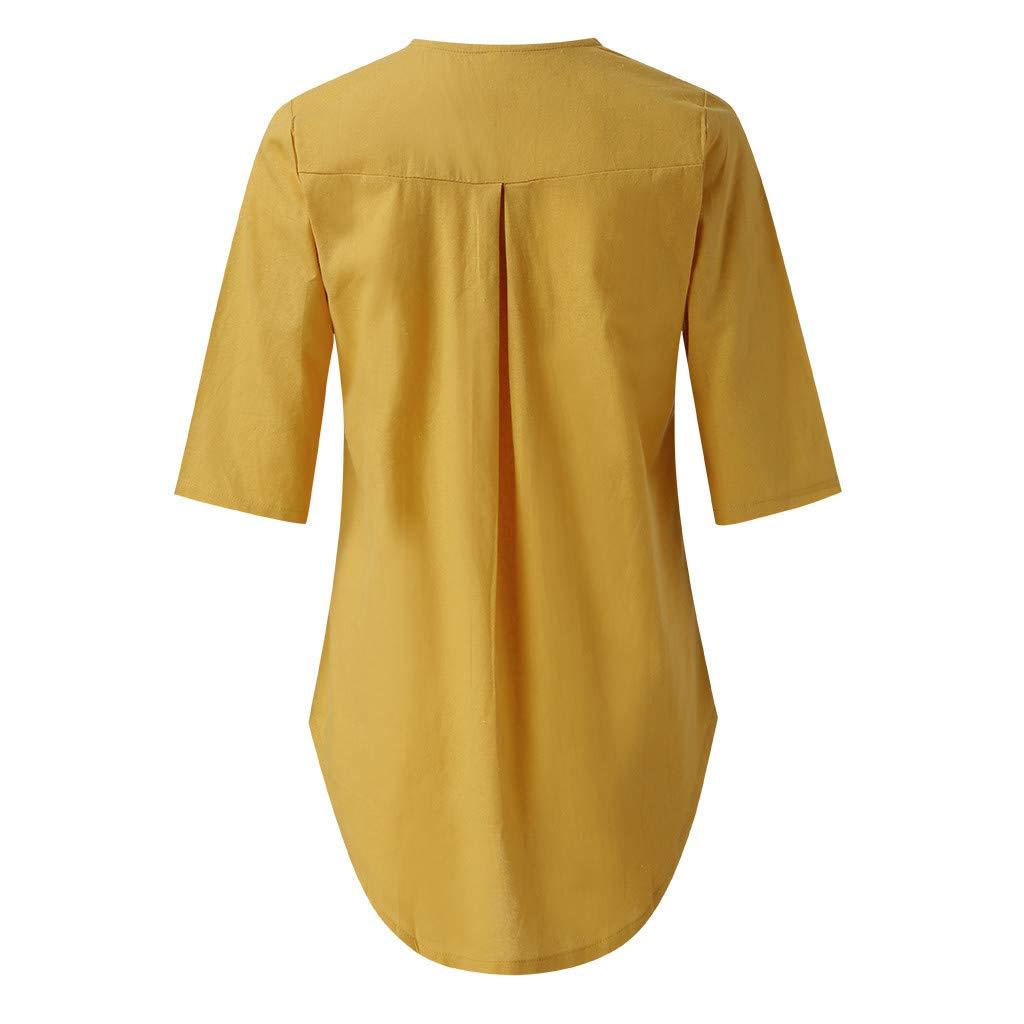 2019 Women Solid Color Shirt,Vicole Womens Solid Color Button Down Casual Linen Cotton Long Sleeve Irregular Hem Slim Fit