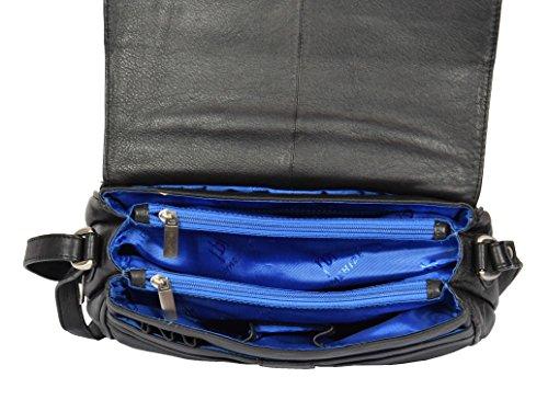 Organiser Shoulder MATILDA Ladies Leather Black Design Bag Body Womens Italian Classic Cross F6xnpqWt