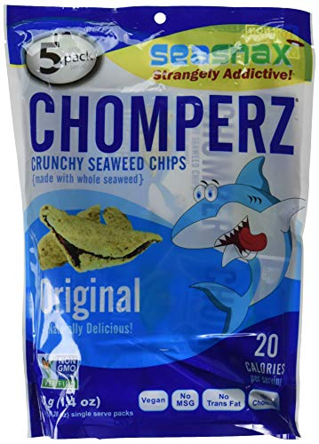 SeaSnax Mini Chomperz Crunchy Seaweed Chips ORIGINAL Single-Serve Pack 0.28 oz - 5 Count Seaweed Snacks With the Salty Crunch of Chips and Rice
