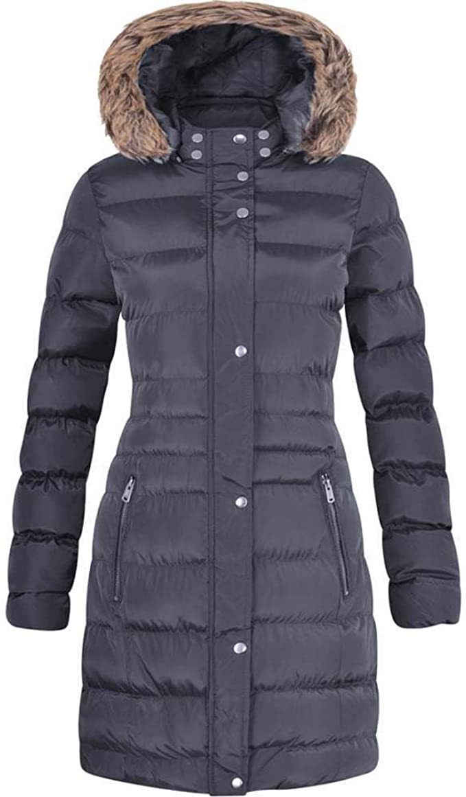 Spindle Womens Long Fur Trimmed Hooded Padded Puffer Parka Ladies Winter Jacket Coat UK 18 / XXL Navy Blue: AmazonSmile: Clothing