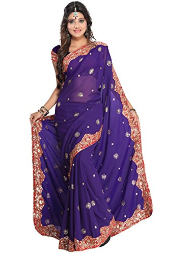 (Indian Trendy Women's Bollywood Sequin Embroidered Sari Festival Saree Unstitched Blouse Piece Costume Boho Party Wear)