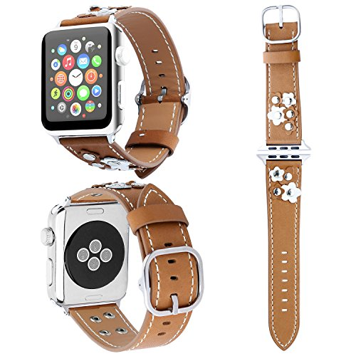 Leather Apple Watch Band 38mm/42mm, ZXK CO Floral Rivet Leather Replacement Watch Bands Strap Watch Bracelet for Apple Watch Series 1/2/3, Sport & Edition (Brown (Band Rivets)
