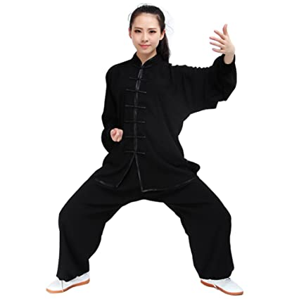a5b6f746e Itopfox Unisex Cotton Blend Kung Fu Tai Chi Uniform Martial Arts Wear Black  M