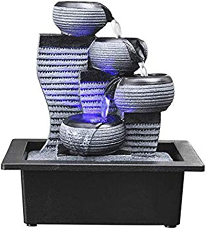 Monthyue Water Fountains Indoor Fountain And Waterfalls Small Table Top Bubbling Falls Rockery Tabletop Statue Feng Shui Water Fountain Amazon Co Uk Kitchen Home