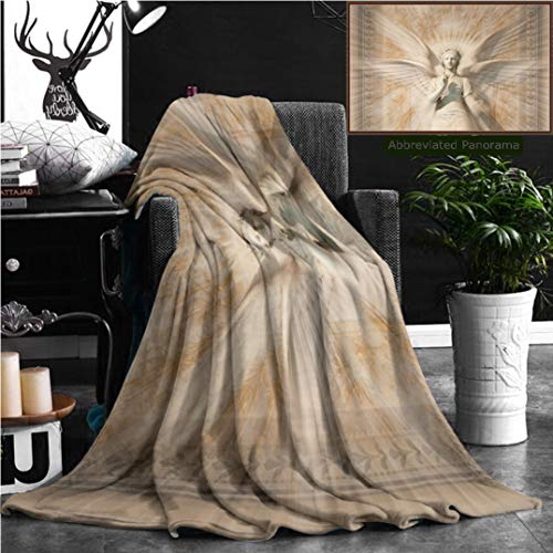 """Nalagoo Unique Custom Flannel Blankets Sculptures Decor Statue Of Angel Woman In Medieval Holy Cathedral Vintage Style Myth Decorat Super Soft Blanketry for Bed Couch, Throw Blanket 60"""" x 40"""" by Nalagoo"""
