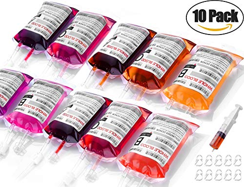 Halloween Party Cups, Lightopia Live Blood of Theme Parties - 10 Pack Blood Bag Drink Container Halloween Decoration Set of 10 IV Bags -