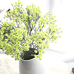 Artificial Flowers Pink/Green Gypsophila Silk Fake Flowers Baby Breath Floral Bouquet for Home Garden Party Wedding Decoration 31