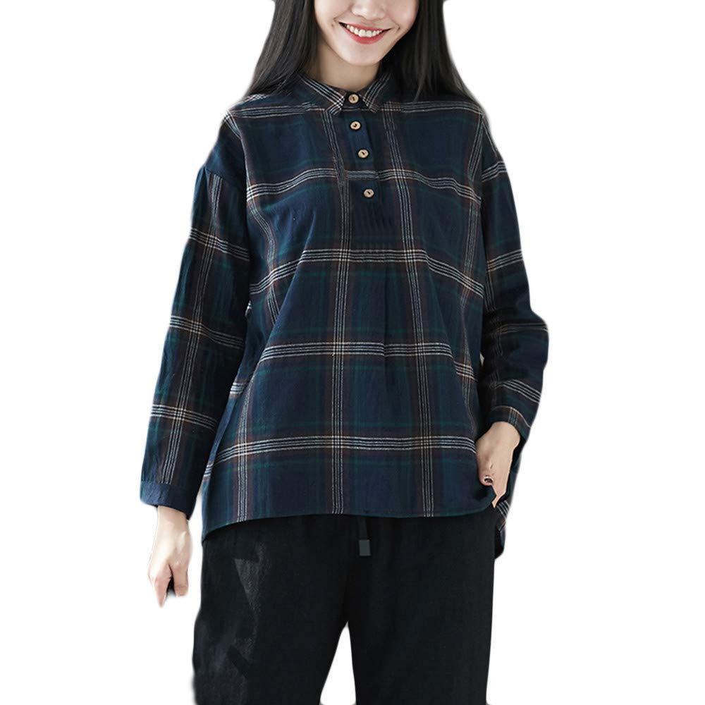 Gyoume Teen School Shirts Plaid Tops Stand Collar Blouse Women Autumn Winter Outwears Shirts
