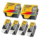 HOTCOLOR Compatible Ink Cartridge Replacements for Kodak #10XL Black Kodak #10 10XL Color (2 Color 4 Black) Work for Kodak 5100 5300 5500 3250 5250 ESP3 ESP5 ESP7 ESP9 Printer
