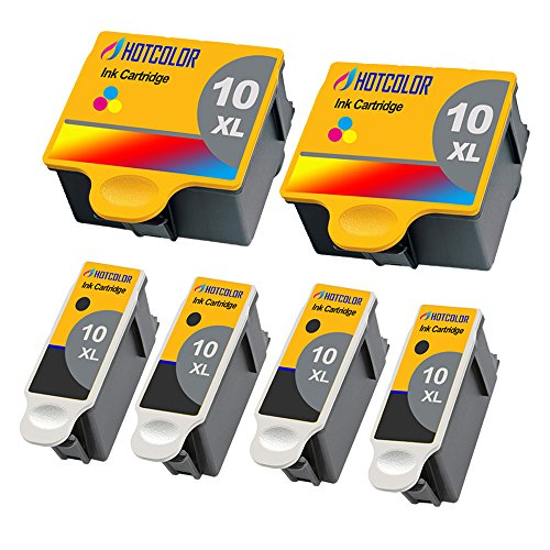 HOTCOLOR Compatible Ink Cartridge Replacements for Kodak #10XL Black Kodak #10 10XL Color (2 Color 4 Black) Work for Kodak 5100 5300 5500 3250 5250 ESP3 ESP5 ESP7 ESP9 Printer by HOTCOLOR