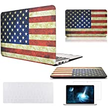 """Easygoby 3in1 Vintage American Flag Pattern MacBook Air Rubber Coated Hard Shell Case Cover for 13-Inch MacBook Air 13.3"""" (Model A1369 / A1466) + Transparent Keyboard Cover + Screen Protector -Flag of the US"""