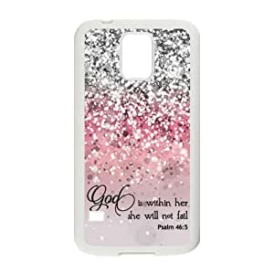 Samsung Galaxy S5 SV Case Cover - God Is within Her, She Will Not Fail Psalm 46:5 - Bible Verse Pink Sparkles Glitter Pattern Samsung Galaxy S5 SV Case Covers Anti-Scratch Extreme Protection Compatible with Samsung Galaxy S5 SV TPU(Laser Technology)