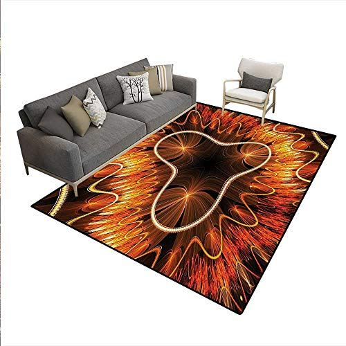 Carpet,Abstract Electromagnetic Waves Textured Dynamic Effects Artful Graphic Image,Customize Rug Pad,Vermilion Brown,6'6