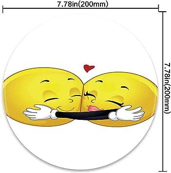 Alfombrilla de ratón Redonda con Figuras románticas de Emoji ...
