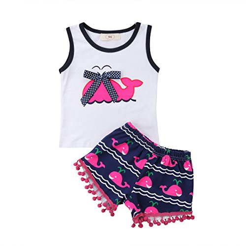 2Pcs/Set Fashion Toddler Kids Baby Girl Sleeveless T-Shirt Top+Floral Denim Shorts Outfits (Tassel Dress, 2-3 Years)