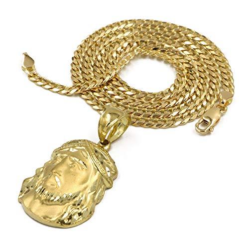 Raonhazae Solid Brass Gold Diamond Cut Jesus Face Pendant w/ 5mm 24