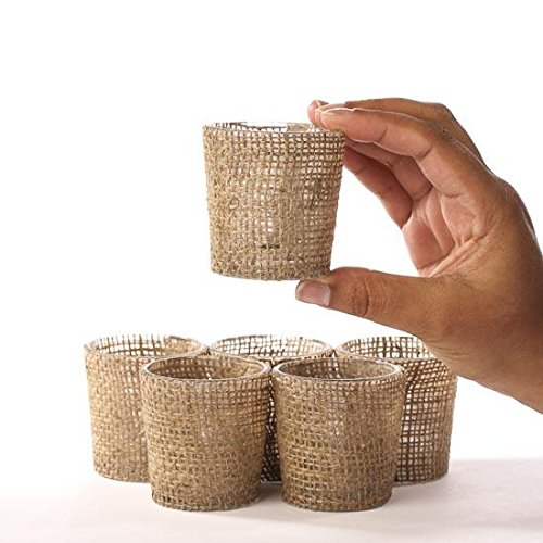 Factory Direct Craft Package of 6 Trendy Burlap Covered Glass Votive Candle Holders for Home and Party Decor