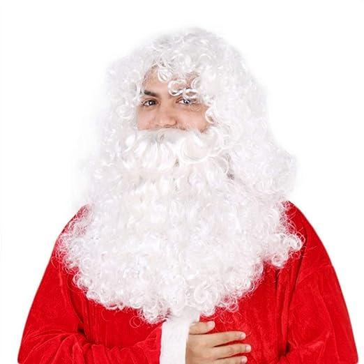 YUNDUO Las Pelucas de Navidad y la Barba Blanca Papa Noel Disfraz ...