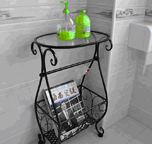 Magazine Rack w/Toliet Paper Holder Multi Purpose ,Accent Tables Metal & Glass Side Table with Scroll Magazine Rack, Measures 10'' x 15'' x 26'' Tall ! by Eastern Cloud (Image #4)