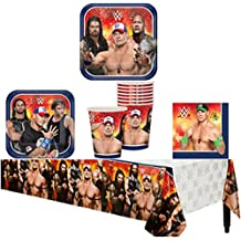WWE Birthday Party Supplies Pack Kit Bundle for 8 Guests - Lunch Plates, Dessert Plates, Lunch Napkins, Cups, and a Table Cover