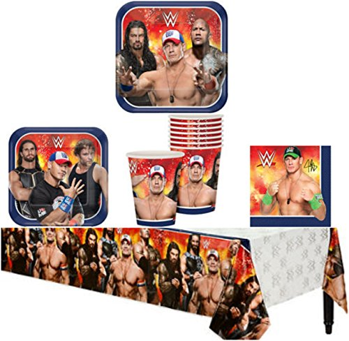 WWE Birthday Party Supplies Pack Kit Bundle for 8 Guests - Lunch Plates, Dessert Plates, Lunch Napkins, Cups, and a Table Cover by Sturdy Style