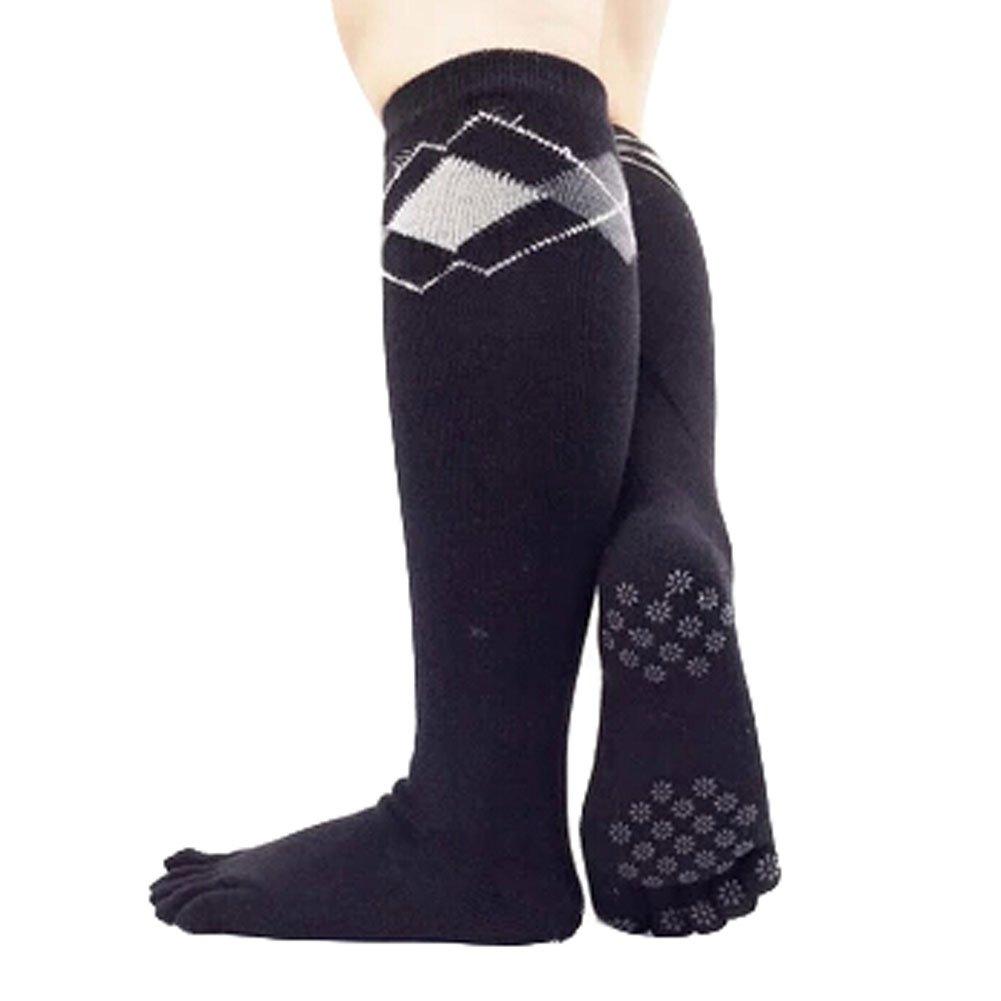 Knee High Socks Non Slip Yoga Socks Cotton Yoga Full Toe Socks, Black